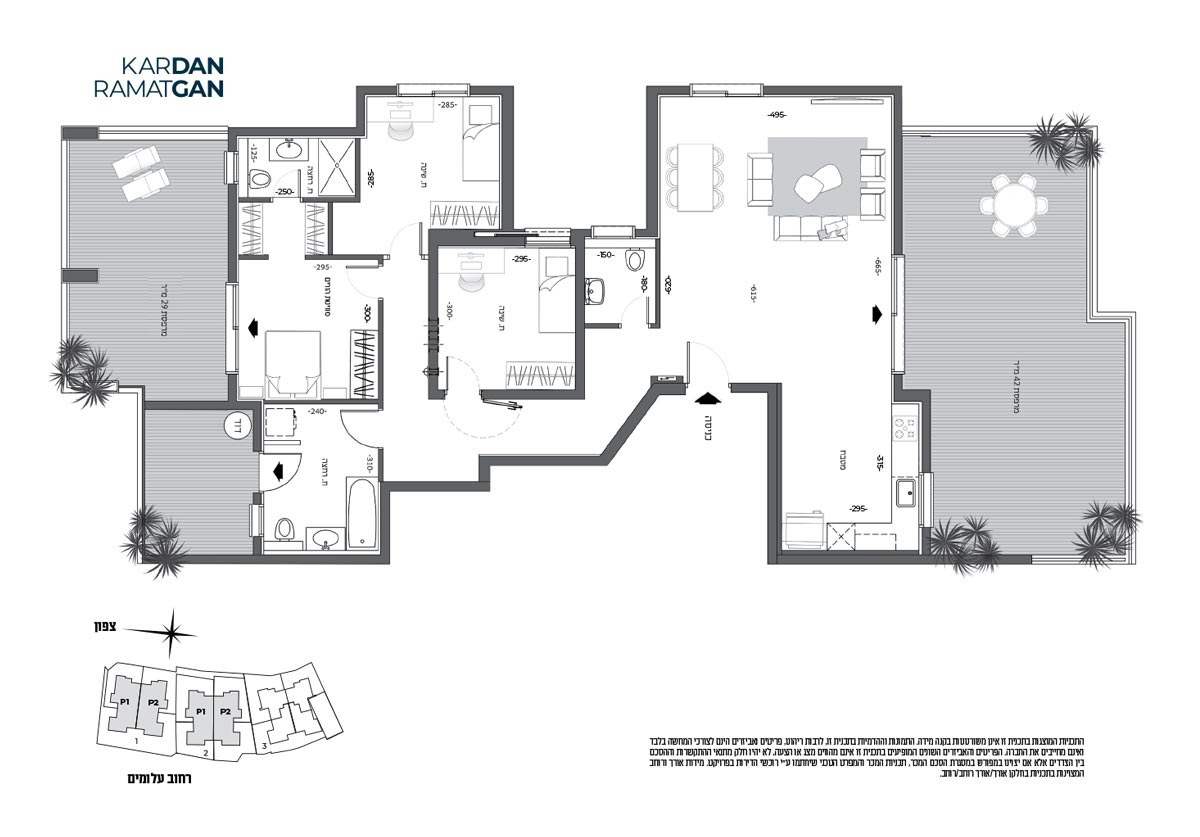 תכנית דירה 4 חדרים פנטהאוז