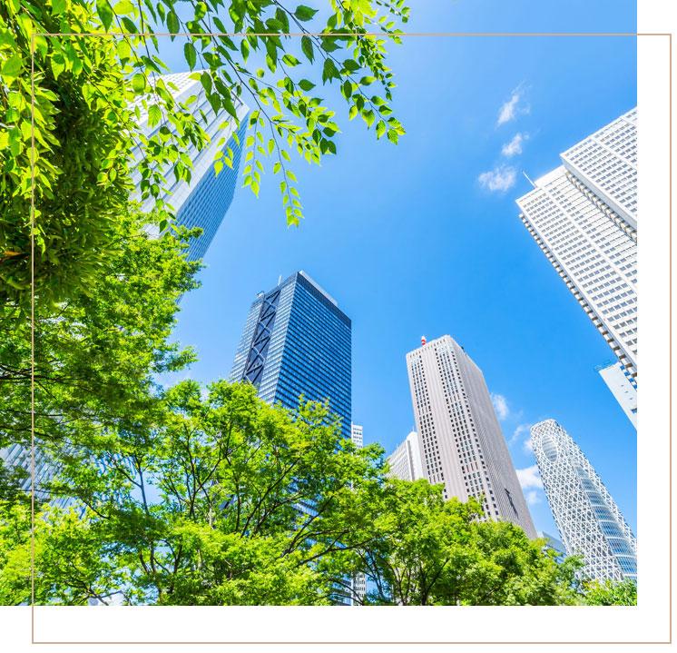 מבט מלמטה על בניינים גבוהים וצמחיה ליד